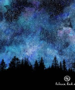 Produktfoto. Bordürenstoff Wald und Sternenhimmel
