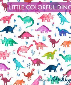 Produktbild. Badeanzufstoff Kinder. Mit Dinosauriern in blau,grün,Pink etc.