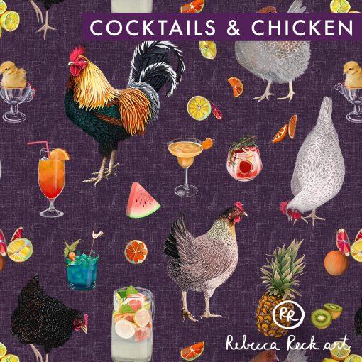 Produktfoto. Hühner, Cocktails und Früchte auf lilanem Untergrund