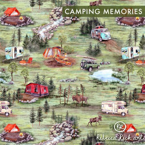Produktfoto. Landschaft mit Wohnwagen, Zetlten, Wohnmobilen und wilden Tieren
