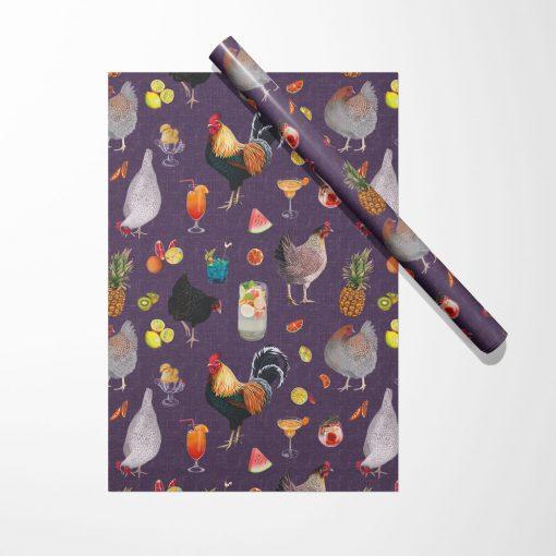 Produktfoto. Geschenkpapier Cocktails & Chicken