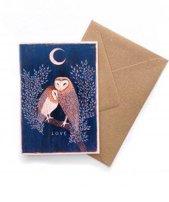Produktfoto. Eulen Postkarte mit Umschlag