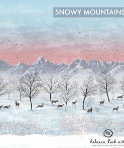 Produktbild. Bergige Schneelandschaft mit Rehe