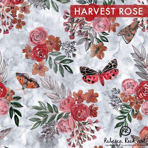 Produktbild. Rosen und Motten auf grau