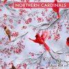 Produktbild. Stoff mit roten Vögeln auf Schnee
