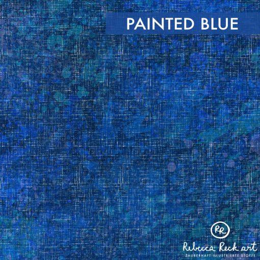 Produktbild. Blauer Stoff mit Farbklecksen.