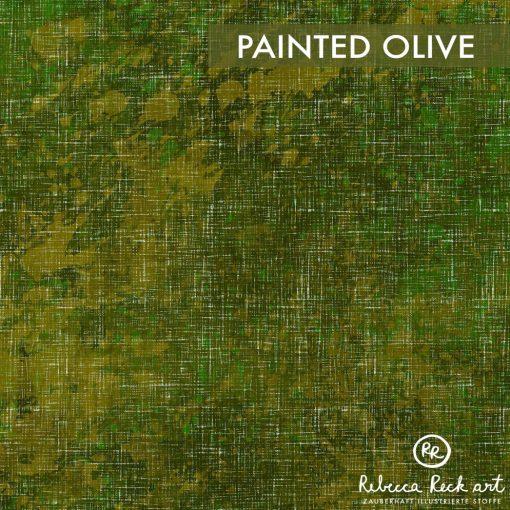Produktbild. Olivfarbener Stoff mit Farbklecksen.