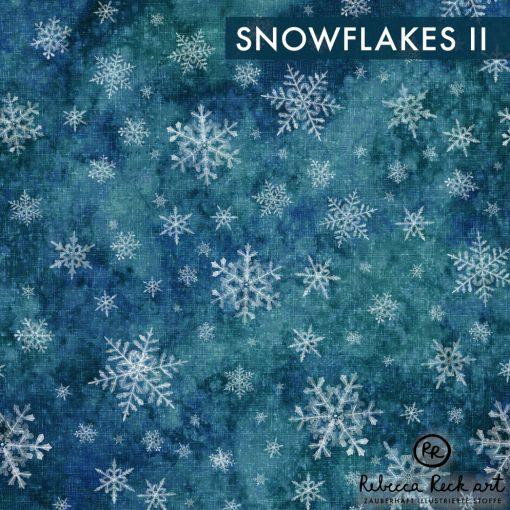Produktbild. Stoff mit Schneeflocken auf türkisblau