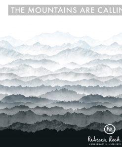 Produktbild. Berge im Nebel auf Stoff